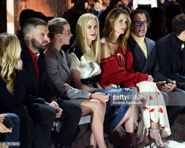 Actors Margot Robbie Nicole Kidman Laura Dern and Kyle MacLachlan attend the Calvin Klein Collection front row during New York Fashion Week at New...
