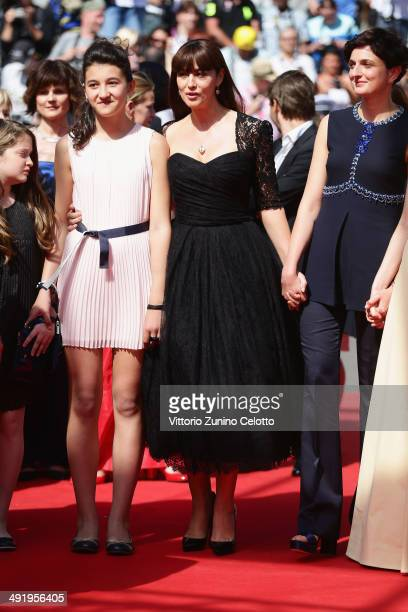 Actors Maria Alexandra Lungu Monica Bellucci and director Alice Rohrwacher attend the 'La Meraviglie' premiere during the 67th Annual Cannes Film...