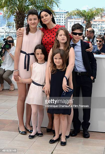 Actors Maria Alexandra Lungu Monica Bellucci MariaStella Morrow Eva Morrow Agnese Graziani and Luis Huilca attends 'The Wonders' photocall at the...