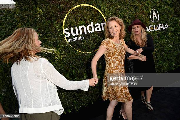 Actors Maria Bello Amy Redford and CEO and founder of The Communication Group Clare Munn attend the 2015 Sundance Institute Celebration Benefit at...