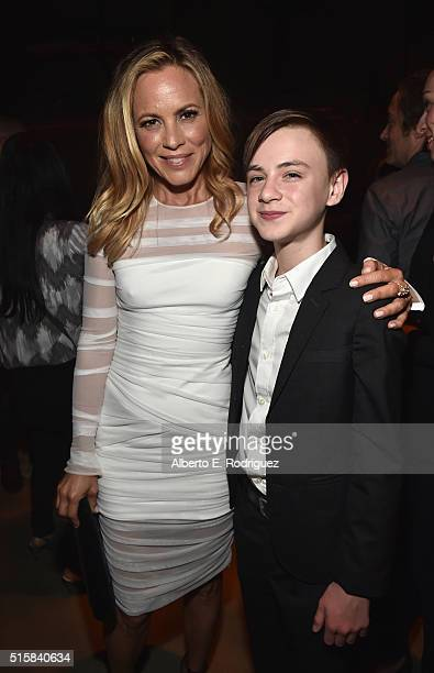 Actors Maria Bello and Jaeden Lieberher attend the after party for the premiere of Saban Films' 'The Confirmation' at NeueHouse Hollywood on March 15...