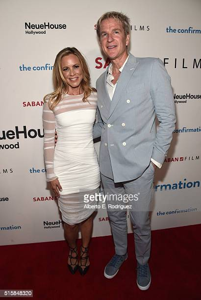 """Actors Maria Bello and Matthew Modine attend the premiere of Saban Films' """"The Confirmation"""" on March 15, 2016 in Los Angeles, California."""