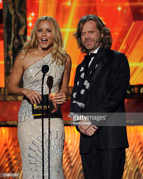 Actors Maria Bello and William H Macy speak onstage during the 63rd Annual Primetime Emmy Awards held at Nokia Theatre LA LIVE on September 18 2011...