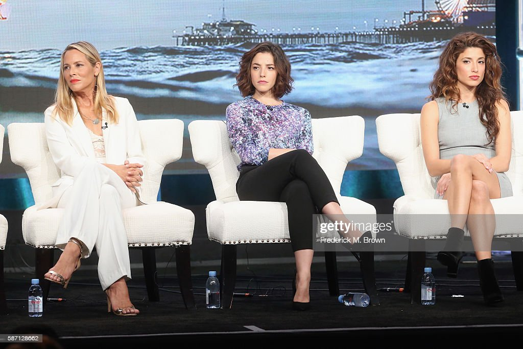 Actors Maria Bello, Olivia Thirlby and Tania Raymonde speak onstage at 'Goliath' panel discussion during the Amazon portion of the 2016 Television Critics Association Summer Tour at The Beverly Hilton Hotel on August 7, 2016 in Beverly Hills, California.