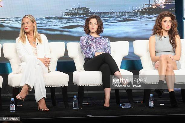 Actors Maria Bello Olivia Thirlby and Tania Raymonde speak onstage at 'Goliath' panel discussion during the Amazon portion of the 2016 Television...