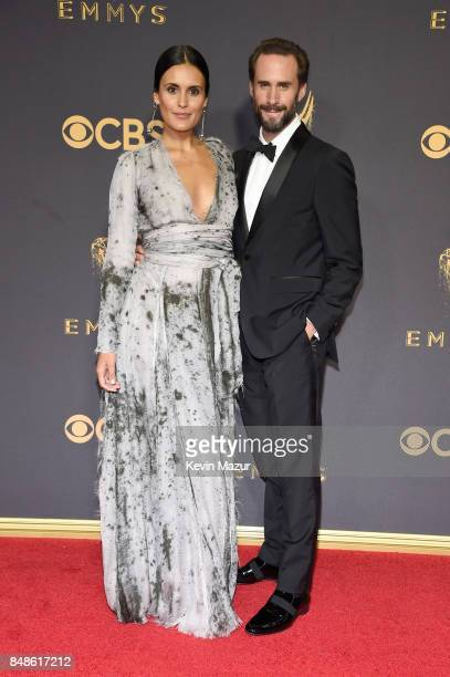 Actors Maria Dolores Dieguez and Joseph Fiennes attend the 69th Annual Primetime Emmy Awards at Microsoft Theater on September 17 2017 in Los Angeles...