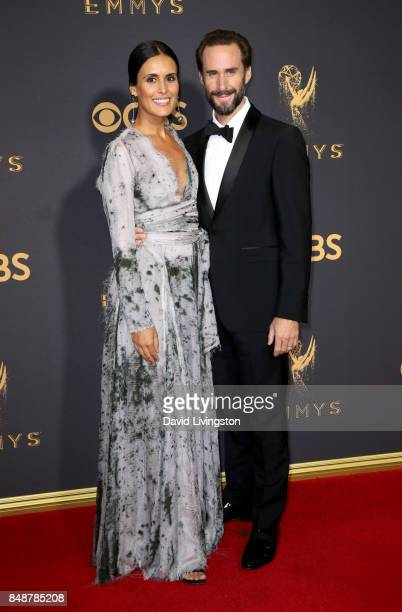 Actors Maria Dolores Dieguez and Joseph Fiennes attend the 69th Annual Primetime Emmy Awards Arrivals at Microsoft Theater on September 17 2017 in...