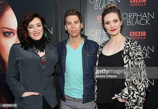 Actors Maria Doyle Kennedy Jordan Gavaris and Evelyne Brochu attend the Orphan Black premiere at Sunshine Cinema on April 17 2014 in New York City