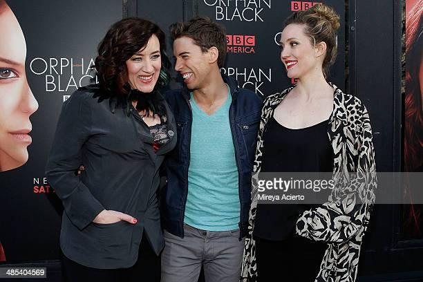 Actors Maria Doyle Kennedy Jordan Gavaris and Evelyne Brochu attend the 'Orphan Black' premiere at Sunshine Cinema on April 17 2014 in New York City