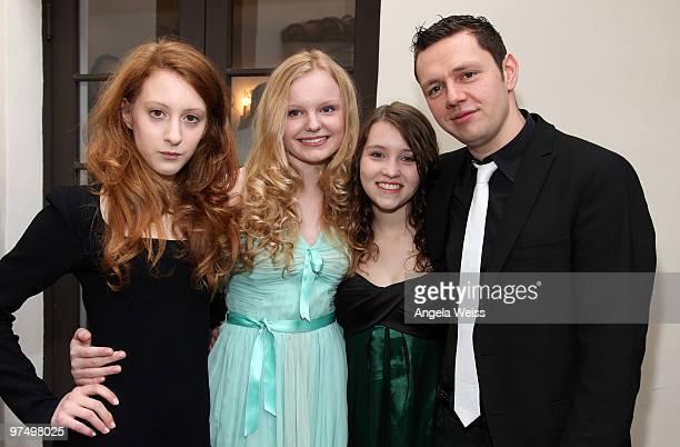 Actors Maria Dragus Roxane Duran Achleitner Janina Fautz and Christian Friedel attend the German Films Villa Aurora Academy Awards Nominees reception...