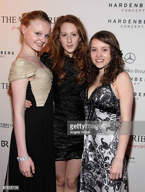 Actors Maria Dragus Roxane Duran and Janina Fautz attend 'The White Ribbon' Oscar party presented by MercedesBenz at Cafe des Artists on March 7 2010...