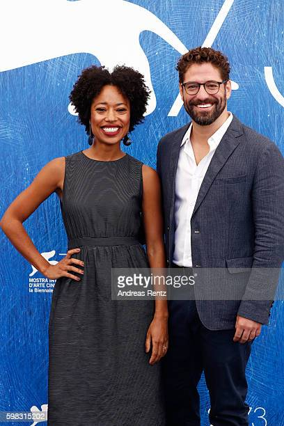 Actors Mariana Nunes and Nuno Lopes attend a photocall for 'Saint George' during the 73rd Venice Film Festival at on September 1, 2016 in Venice,...