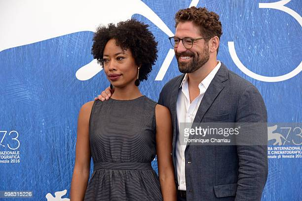 Actors Mariana Nunes and Nuno Lopes attend a photocall for 'Saint George' during the 73rd Venice Film Festival at on September 1 2016 in Venice Italy