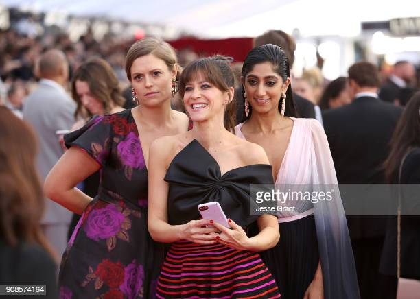 Actors Marianna Palka Jackie Tohn and Sunita Mani attend the 24th Annual Screen ActorsGuild Awards at The Shrine Auditorium on January 21 2018 in...