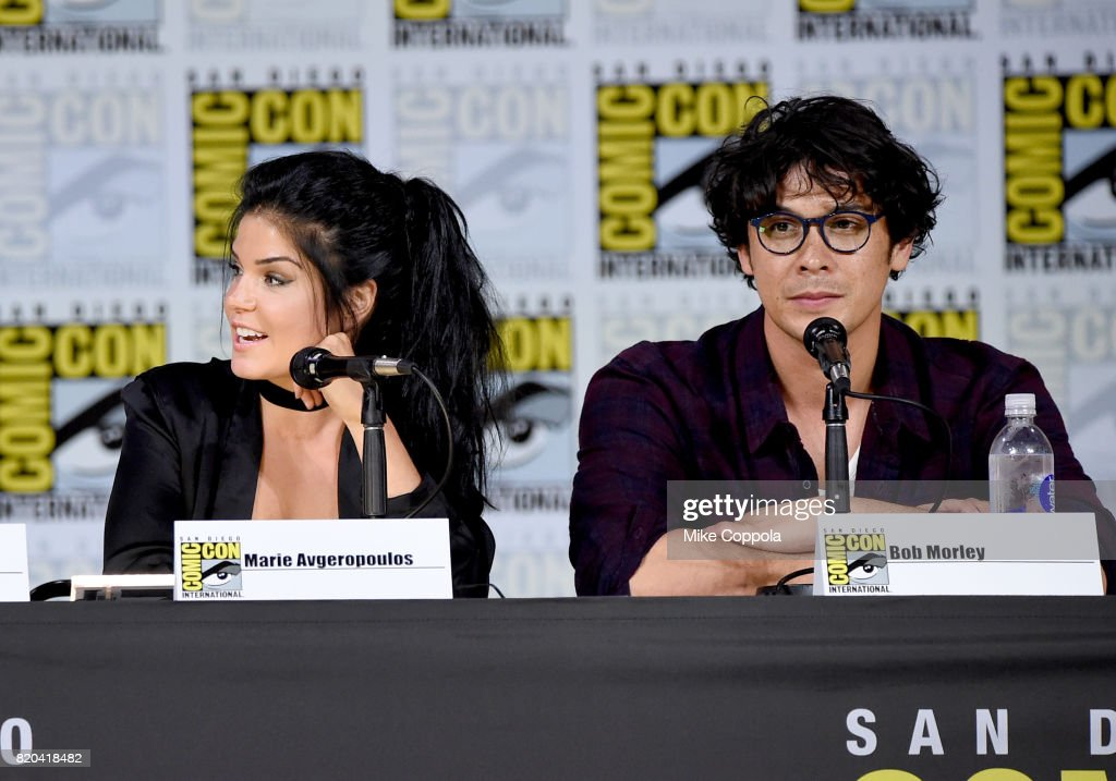 Actors Marie Avgeropoulos And Bob Morley Speak Onstage At Comic Con