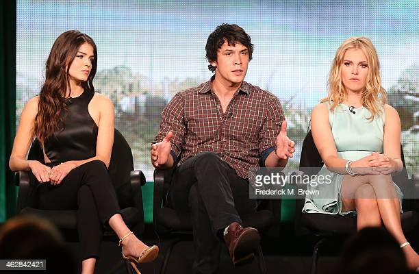 Actors Marie Avgeropoulos Bob Morley and Eliza Taylor of the television show 'The 100' speak onstage during the CW portion of the 2014 Winter TCA...