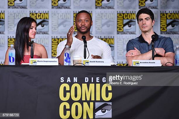 Actors Marie Avgeropoulos Dave Ramsey and Brandon Routh attend TV Guide Magazine's Fan Favorites during Comic Con 2016 at San Diego Convention Center...