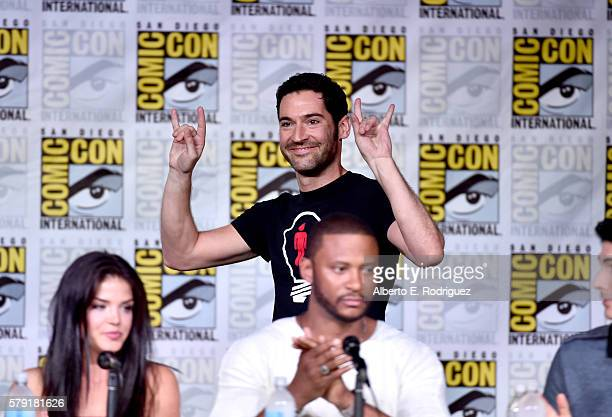 Actors Marie Avgeropoulos Tom Ellis and David Ramsey attend TV Guide Magazine's Fan Favorites during Comic Con 2016 at San Diego Convention Center on...