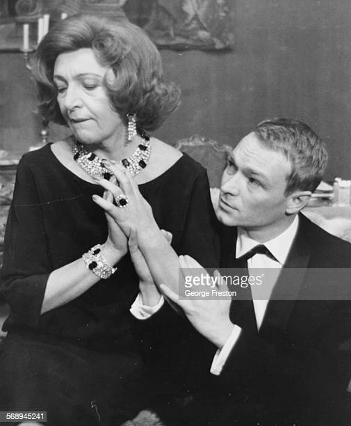 Actors Marie Bell and Pierre Vaneck rehearsing a scene from the play 'Les Violins Parfois' at the Piccadilly Theatre London February 19th 1962