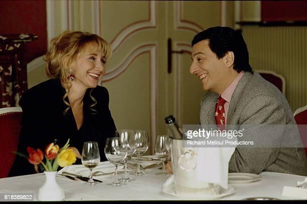 Actors Marie-Anne Chazel and Christian Clavier at Esclimont Castle