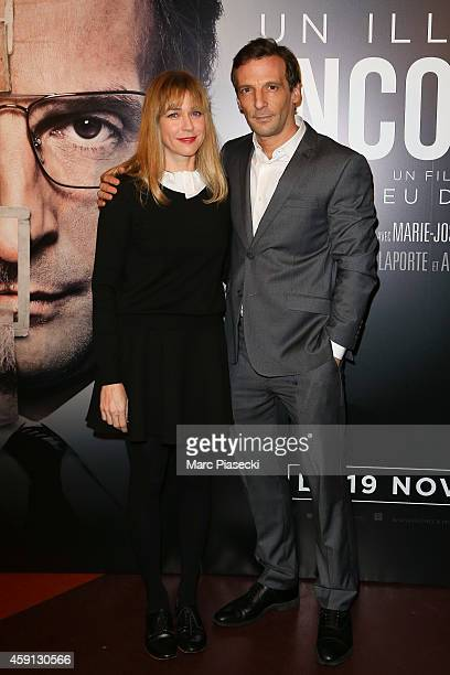 Actors MarieJosee Croze and Mathieu Kassovitz attend the 'Un illustre inconnu' Premiere at Cinema Gaumont Capucine on November 17 2014 in Paris France