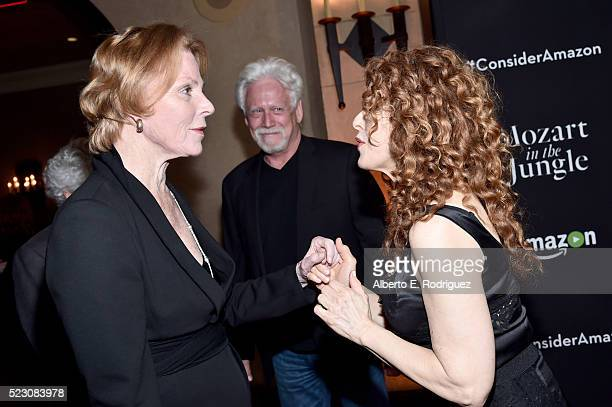 Actors Mariette Hartley and Bernadette Peters attend the screening and QA for Amazon's Mozart In The Jungle at Hollywood Roosevelt Hotel on April 21...