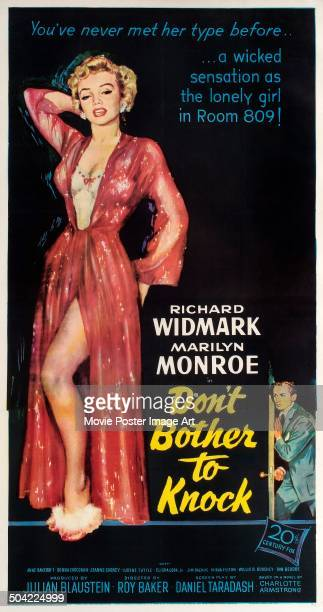 Actors Marilyn Monroe and Richard Widmark appear on the poster for the 20th Century Fox movie 'Don't Bother to Knock' 1952