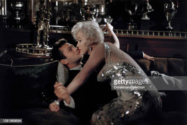 Actors Marilyn Monroe and Tony Curtis on the set of the film Some Like it Hot in Los Angeles California