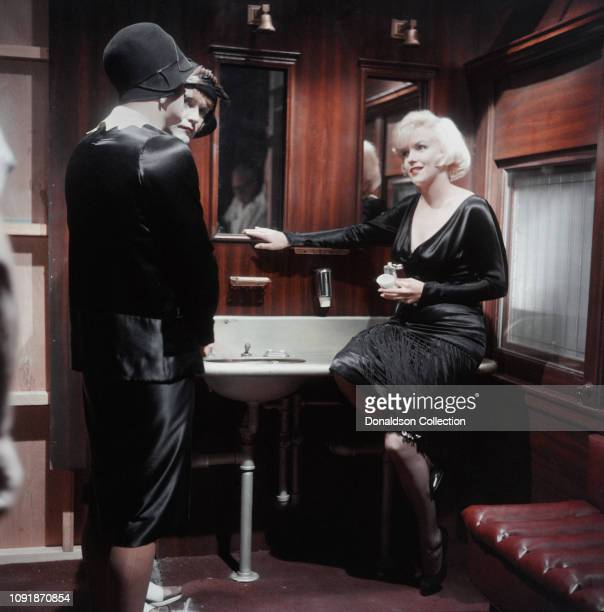 Actors Marilyn Monroe Jack Lemmon and Tony Curtis on the set of the film Some Like it Hot in Los Angeles California