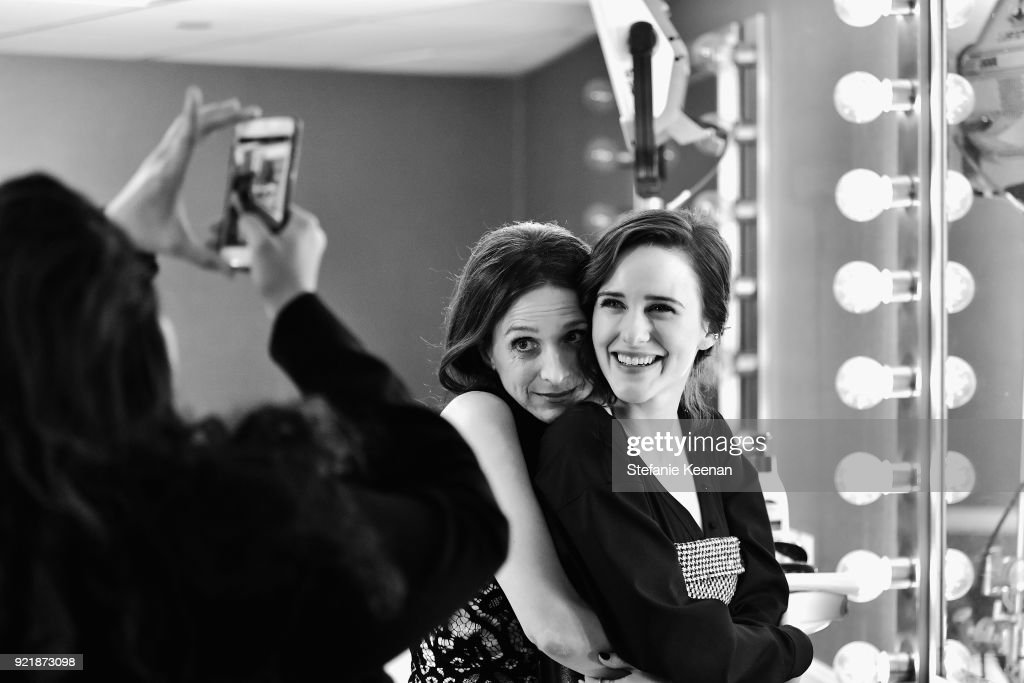 Actors Marin Hinkle (L) and Rachel Brosnahan attend the Costume Designers Guild Awards at The Beverly Hilton Hotel on February 20, 2018 in Beverly Hills, California.