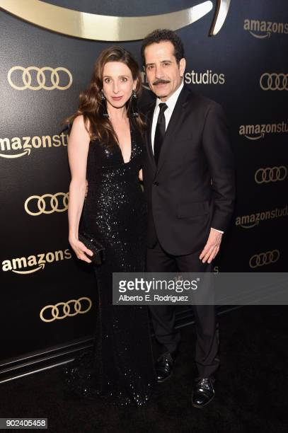 Actors Marin Hinkle and Tony Shalhoub attend Amazon Studios' Golden Globes Celebration at The Beverly Hilton Hotel on January 7 2018 in Beverly Hills...