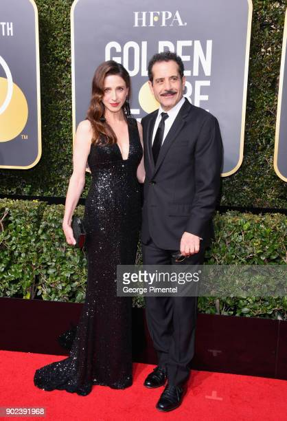 Actors Marin Hinkle and Tony Shalhoub attend The 75th Annual Golden Globe Awards at The Beverly Hilton Hotel on January 7 2018 in Beverly Hills...