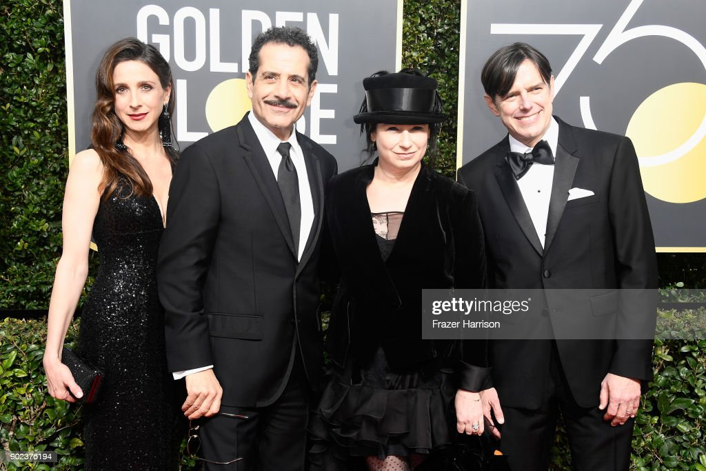 Actors Marin Hinkle and Tony Shalhoub, producers Amy Sherman-Palladino and Daniel Palladino attend The 75th Annual Golden Globe Awards at The Beverly Hilton Hotel on January 7, 2018 in Beverly Hills, California.