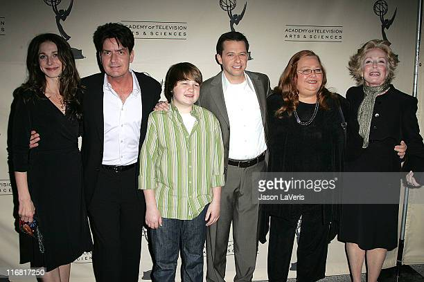 Actors Marin Hinkle Charlie Sheen Angus T Jones Jon Cryer Conchata Ferrell and Holland Taylor attend An Evening with Two and a Half Men held at The...