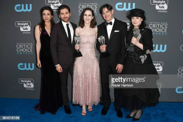 Actors Marin Hinkle Michael Zegen Rachel Brosnahan fillmmakers Dan Palladino and Amy ShermanPalladino recipients of the Best Comedy Series award for...