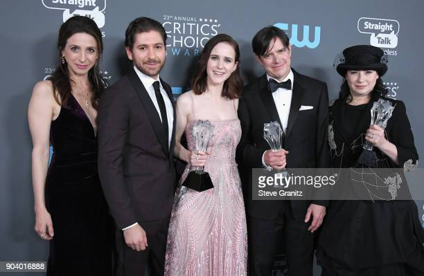 Actors Marin Hinkle, Michael Zegen, Rachel Brosnahan, fillmmakers Dan Palladino and Amy Sherman-Palladino, recipients of the Best Comedy Series award...