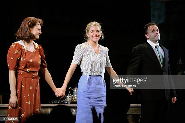 """Actors Marin Ireland, Sienna Miller and Jonny Lee Miller take a bow during curtain call on the opening night of """"After Miss Julie"""" on Broadway at the..."""