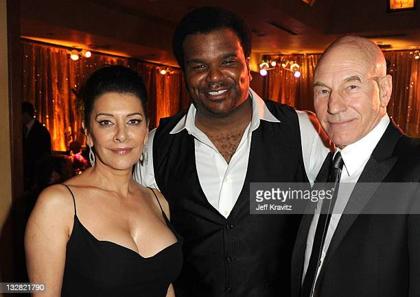 Actors Marina Sirtis Craig Robinson and Patrick Stewart attend the official HBO SAG Awards after party held at at Spago on January 29 2011 in Beverly...