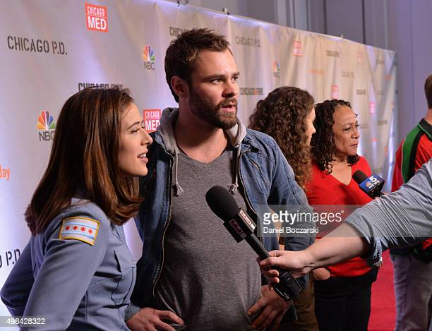 Actors Marina Squerciati and Patrick John Flueger are interviewed during the press junket for NBC's 'Chicago Fire' 'Chicago PD' and 'Chicago Med' at...