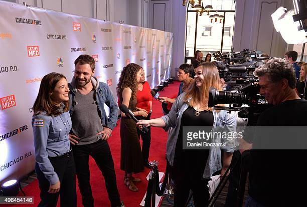 Actors Marina Squerciati Patrick John Flueger Rachel DiPillo and S Epatha Merkerson are interviewed as they attend a press junket for NBC's 'Chicago...