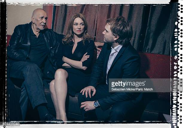 Actors Marine Delterme and Florian Zeller with Frank Langella are photographed for Paris Match on April 14 2016 in New York City