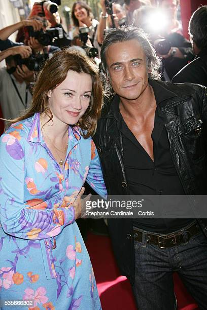 Actors Marine Delterme and Jean Michel Tinivelli at the TF1 press conference 20072008 held at the Olympia in Paris