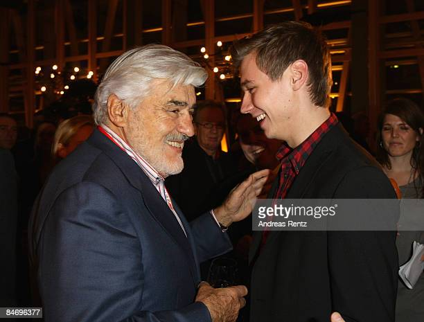 Actors Mario Adorf and David Kross attend the NRW reception during the 59th Berlin Film Festival on February 8 2009 in Berlin Germany