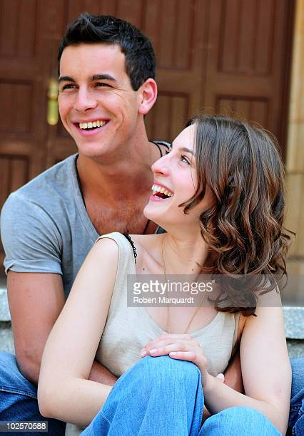Actors Mario Casas and Maria Valverde pose during a photocall on the set of their latest film 'Tres Metros Sobre el Cielo' on July 1 2010 in...