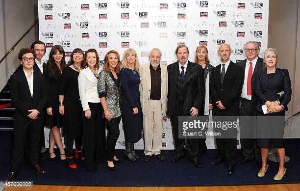 Actors Marion Bailey Lesley Manville Dorothy Atkinson producer Georgina Lowe director Mike Leigh and actor Timothy Spall Ruth Sheen Martin Savage and...
