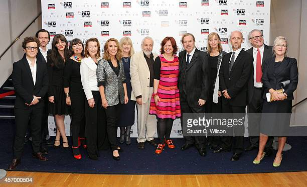 Actors Marion Bailey Lesley Manville Dorothy Atkinson producer Georgina Lowe director Mike Leigh festival director Clare Stewart and actors Timothy...