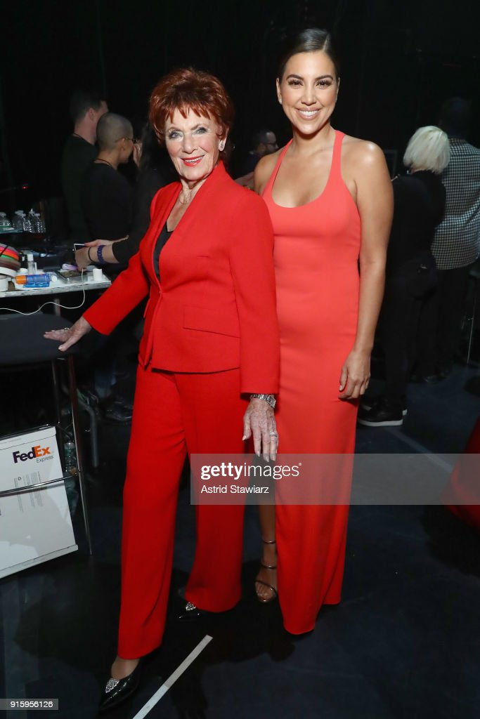 Actors Marion Ross (L) and Liz Hernandez pose backstage at the American Heart Association's Go Red For Women Red Dress Collection 2018 presented by Macy's at Hammerstein Ballroom on February 8, 2018 in New York City.