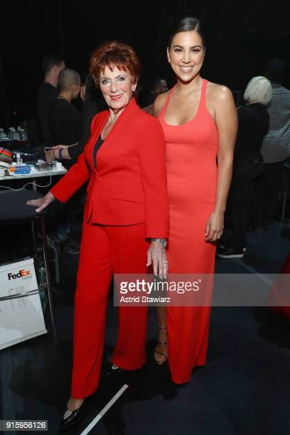 Actors Marion Ross and Liz Hernandez pose backstage at the American Heart Association's Go Red For Women Red Dress Collection 2018 presented by...