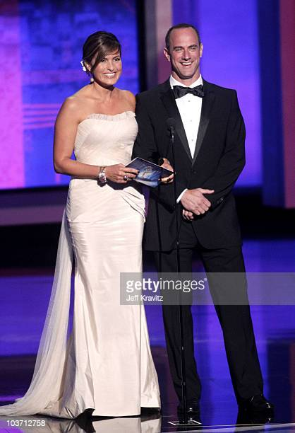 Actors Mariska Hargitay and Christopher Meloni present award onstage at the 62nd Annual Primetime Emmy Awards held at the Nokia Theatre LA Live on...