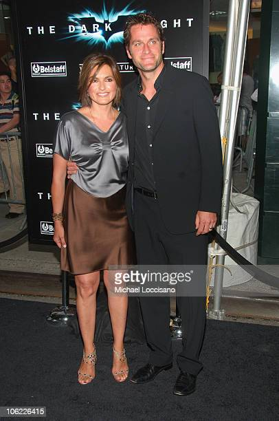 """Actors Mariska Hargitay and Peter Hermann attend the """"The Dark Knight"""" premiere at the AMC Loews Lincoln Square theater on July 14, 2008 in New York..."""
